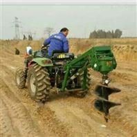 四轮车带动挖坑机大棚立柱钻坑机视频