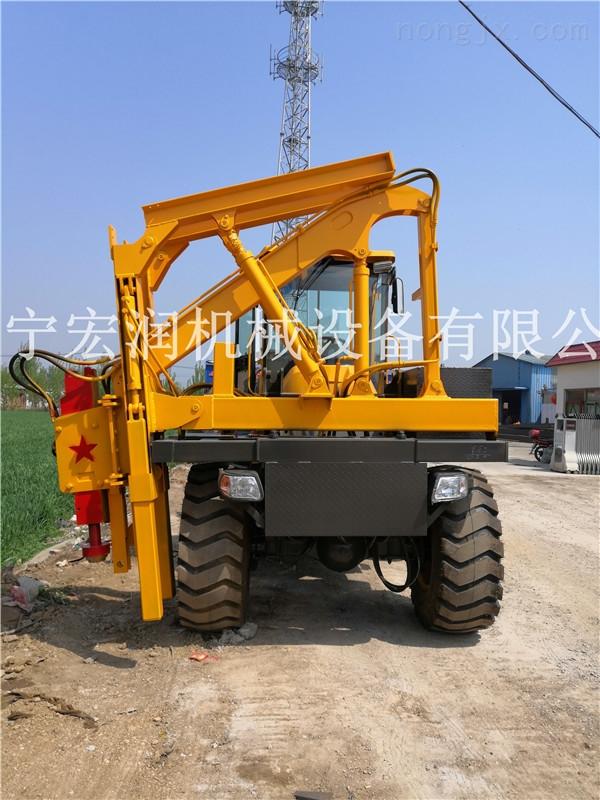 農村公路波形護欄打孔機 全液壓打樁機 護攔打樁機報價
