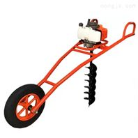 道路两旁立杆打孔机 独轮手推式小型挖坑机